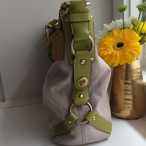Coach Bags - Coach Canvas and Lime Green Leather Tote